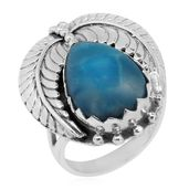TLV Bali Legacy Collection Larimar Sterling Silver Ring (Size 8.0) TGW 9.85 cts.