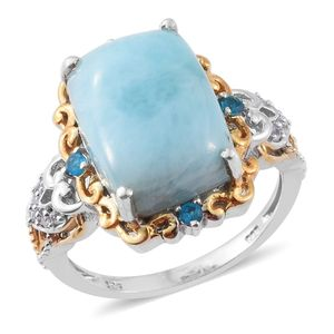 Larimar, Malgache Neon Apatite, Cambodian Zircon 14K YG and Platinum Over Sterling Silver Ring (Size 6.0) TGW 13.37 cts.