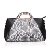 Black and White Snake Print Baguette Bag with Removable Shoulder Strap (16x4.5x8.5 in)