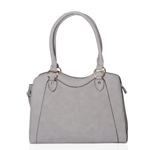 Gray Faux Leather Shoulder Bag with Removable Strap (14.5x5.5x11 in)