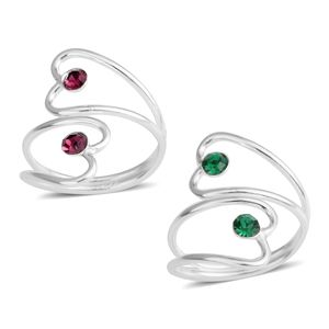 Dark Green and Purple Austrian Crystal Platinum Over Sterling Silver Set of 2 Ring (Size 5)