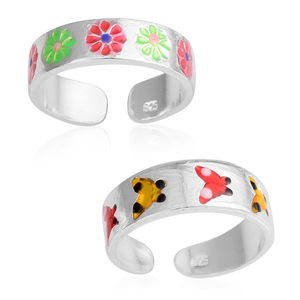 Set of 2 Enameled Sterling Silver Floral and Butterfly Toe Rings (Adjustable)