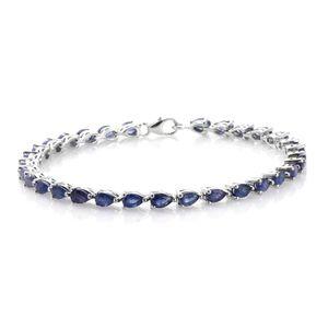 Masoala Sapphire Platinum Over Sterling Silver Bracelet (7.50 In) TGW 10.45 cts.