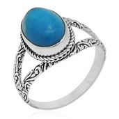 Bali Legacy Collection Blue Howlite Sterling Silver Split Ring (Size 7.0) TGW 6.32 cts.