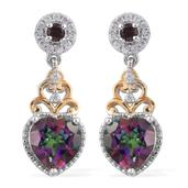 Northern Lights Mystic Topaz, Orissa Rhodolite Garnet, Cambodian Zircon 14K YG and Platinum Over Sterling Silver Earrings TGW 3.40 cts.