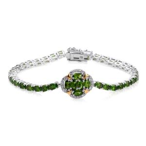 Deepak's Dazzling Deals Russian Diopside, Cambodian Zircon 14K YG and Platinum Over Sterling Silver Bracelet (7.50 In) TGW 11.40 cts.