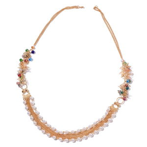 Simulated Pearl, Multi Color Glass Goldtone Necklace (32 in)