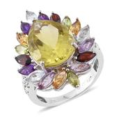 Ouro Verde Quartz, Multi Gemstone Platinum Over Sterling Silver Ring (Size 11.0) TGW 15.51 cts.