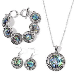 Abalone Shell Silvertone Bracelet, Earrings and Pendant With Stainless Steel Chain (18.00 In) TGW 79.00 cts.