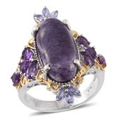 Utah Tiffany Stone, Amethyst, Tanzanite 14K YG and Platinum Over Sterling Silver Ring (Size 10.0) TGW 10.17 cts.