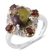 Tasmanian Stichtite, Mozambique Garnet, Cambodian Zircon 14K YG and Platinum Over Sterling Silver Ring (Size 7.0) TGW 4.64 cts.