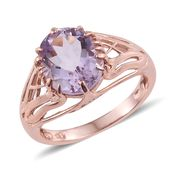 Rose De France Amethyst 14K RG Over Sterling Silver Ring (Size 10.0) TGW 4.35 cts.