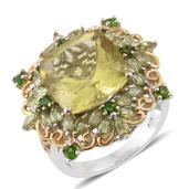 Dan's Collector 25th Anniversary Collection Ouro Verde Quartz, Russian Diopside, Hebei  Peridot 14K YG and Platinum Over Sterling Silver Ring (Size 7.0) TGW 13.33 cts.