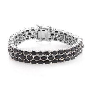 Thai Black Spinel Platinum Over Sterling Silver Bracelet (8.00 In) TGW 39.00 cts.