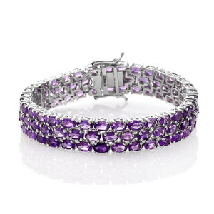 Amethyst Platinum Over Sterling Silver 3 Row Line Bracelet (6.50 In) TGW 22.75 cts.