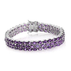 Amethyst Platinum Over Sterling Silver 3 Row Line Bracelet (7.50 In) TGW 25.50 cts.