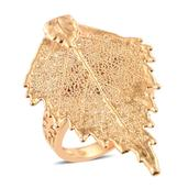 Nature's D'Or Birch Leaf Dipped in 24K YG on 14K YG Over Sterling Silver Band Ring (Size 7.0)