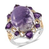 Utah Tiffany Stone, Amethyst 14K YG and Platinum Over Sterling Silver Ring (Size 8.0) TGW 13.58 cts.