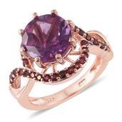 Purple Fluorite, Anthill Garnet 14K RG Over Sterling Silver Ring (Size 7.0) TGW 5.15 cts.