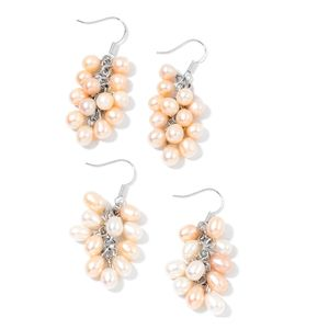 Freshwater Peach and White Pearl Silvertone and Stainless Steel Set of 2 Earrings