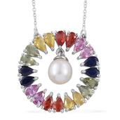 Freshwater Pearl, Multi Sapphire Platinum Over Sterling Silver Pendant With Chain (20 in) TGW 5.15 cts.