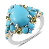 Arizona Sleeping Beauty Turquoise, Russian Diopside 14K YG and Platinum Over Sterling Silver Ring (Size 7.0) TGW 6.02 cts.