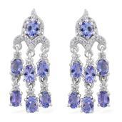 Tanzanite, Cambodian Zircon Platinum Over Sterling Silver Chandelier Earrings TGW 2.87 cts.