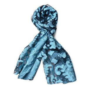 Baby Blue and Black 70% Polyester & 30% Chinlon Semi Sheer Damask Embroid Pattern Scarf (72x26 in)
