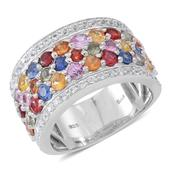 Multi Sapphire, Cambodian White Zircon Sterling Silver Cocktail Ring (Size 10.0) TGW 8.01 cts.
