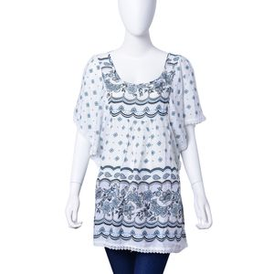 Black and White Floral Paisley Print 100% Viscose Criss Cross Back Lace Embroidered Scoop Neck Blouse (Large-1X)