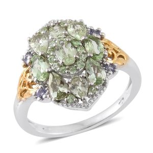 Merelani Mint Garnet, Tanzanite 14K YG and Platinum Over Sterling Silver Ring (Size 7.0) TGW 2.71 cts.