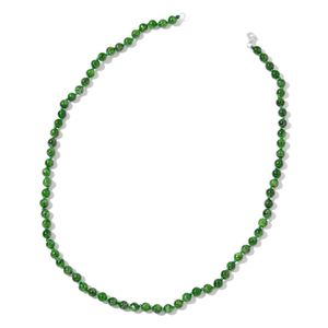 TLV Russian Diopside Beads Sterling Silver Necklace (18 in) TGW 86.50 cts.