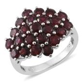 Anthill Garnet Platinum Over Sterling Silver Ring (Size 8.0) TGW 5.42 cts.