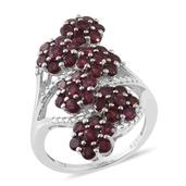 Anthill Garnet Platinum Over Sterling Silver Ring (Size 8.0) TGW 4.06 cts.