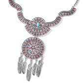 Blue Howlite, White Austrian Crystal, Red and Blue Enameled Silvertone Necklace (20 in) TGW 2.65 cts.