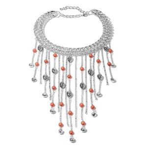 Designer Inspired Coral Howlite Beads Silvertone Fringe Choker Necklace (18 in) TGW 30.00 cts.