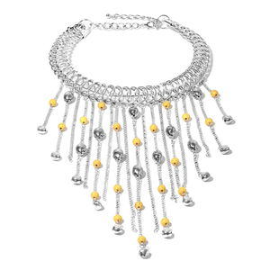 Designer Inspired Yellow Howlite Beads Silvertone Fringe Choker Necklace (18 in) TGW 30.00 cts.