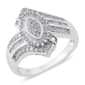 Diamond Platinum Over Sterling Silver Ring (Size 6.0) TDiaWt 0.75 cts, TGW 0.75 cts.