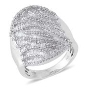 Diamond Platinum Over Sterling Silver Ring (Size 9.0) TDiaWt 2.40 cts, TGW 2.40 cts.