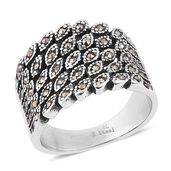 Swiss Marcasite Stainless Steel Band Ring (Size 7.0) TGW 0.40 cts.