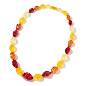 Simulated Multi Color Amber Beads Necklace (24 in)