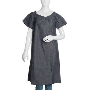 Dark Denim Short Tunic with Smocked Effect Shoulder-Size 20