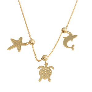 14K YG Over Sterling Silver Necklace with Adjustable Charms (18 in, 3.3 g)