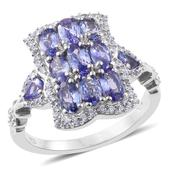 Tanzanite, Cambodian Zircon Platinum Over Sterling Silver Ring (Size 7.0) TGW 3.13 cts.