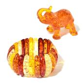 Amber Colors Chroma Bracelet (Stretchable) and Decorative Paper Weight Elephant (2in)