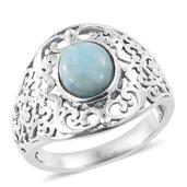 Artisan Crafted Larimar Sterling Silver Openwork Solitaire Ring (Size 5.0) TGW 3.00 cts.