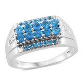 Malgache Neon Apatite Platinum Over Sterling Silver Men's Ring (Size 10.0) TGW 1.58 cts.
