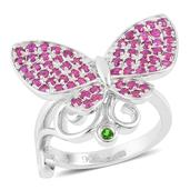 Russian Diopside, Ruby Sterling Silver Spinning Butterfly Ring (Size 9.0) TGW 1.50 cts.