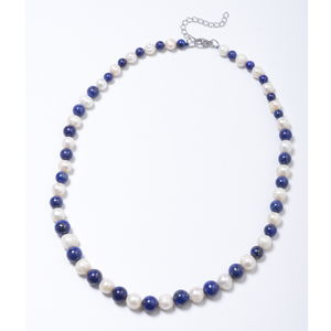 Lapis Lazuli Beads, Freshwater Pearl Stainless Steel Necklace (20 in) TGW 120.00 cts.