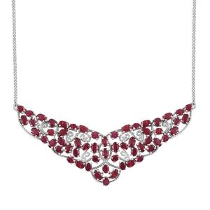 Niassa Ruby (FF) Platinum Over Sterling Silver Princess Necklace (18 in) TGW 17.80 cts.